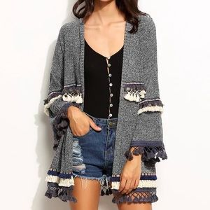 Marled Knit Cardigan with Embroidered Tape/Fringe